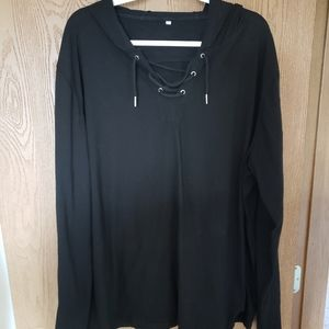 Black, hooded, lace up top. Size XXL